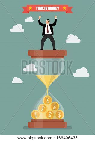 Businessman celebrating on a sandglass. Time is money