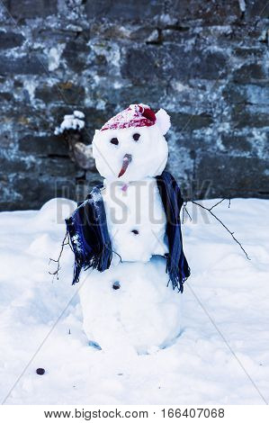 picture of a decorated snowman in front of a wall