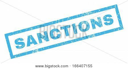 Sanctions text rubber seal stamp watermark. Tag inside rectangular banner with grunge design and dirty texture. Inclined vector blue ink sign on a white background.