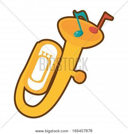 cartoon tuba wind brass music instrument vector illustration eps 10