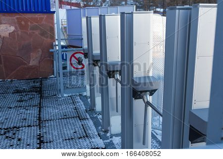 turnstiles at the ski resort for skiing payment