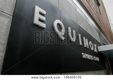 New York, June 27, 2016: Equinox Sports Club sign at the entrance to one of the gym's locations.