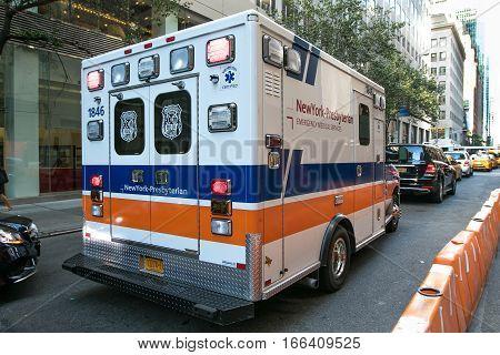 New York, July 26, 2016:  A New York Presbyterian ambulance is seen on the street.