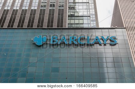 New York, August 12, 2016: An office building of Barclays in midtown Manhattan. The building used to belong to Lehman Brothers before the company collapsed.