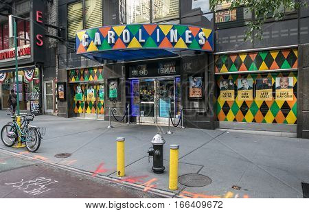 New York, August 12, 2016: The entrance to Caroline's - a well knows comedy club in Manhattan.