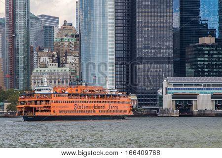 New York, August 17, 2016: A Staten Island Ferry is preparing for docking in Manhattan.