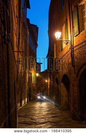 Alley In Siena, Italy, At Night