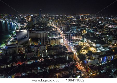 Night Of Pattaya City From The Height Of Bird Flight.