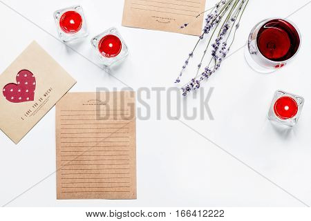 concept of Valentine's Day love letter on white background top view.