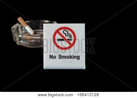 No Smoking Sign With Ashtray And Cigarette