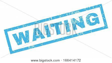 Waiting text rubber seal stamp watermark. Caption inside rectangular banner with grunge design and scratched texture. Inclined vector blue ink sign on a white background.