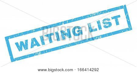 Waiting List text rubber seal stamp watermark. Tag inside rectangular banner with grunge design and scratched texture. Inclined vector blue ink sticker on a white background.