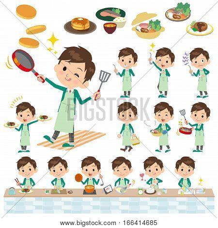 School Boy Green Blazer Cooking