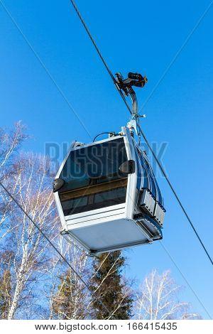 Empty Cabin Lift In The Ski Resort