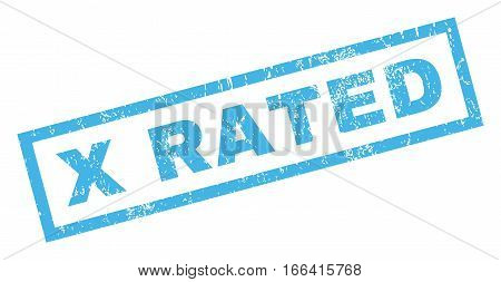 X Rated text rubber seal stamp watermark. Caption inside rectangular shape with grunge design and unclean texture. Inclined vector blue ink sign on a white background.