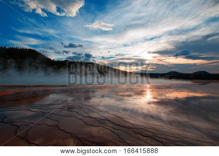 Grand Prismatic Spring at sunset in the Midway Geyser Basin in Yellowstone National Park in WY USA