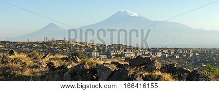 View of mountain Ararat and Yerevan city