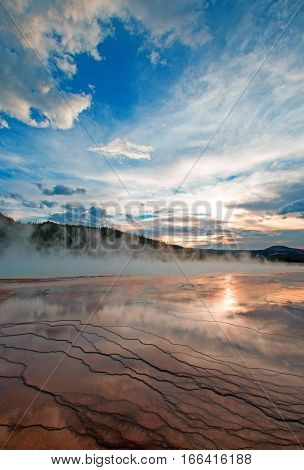 Grand Prismatic Spring at sunset in the Midway Geyser Basin in Yellowstone National Park