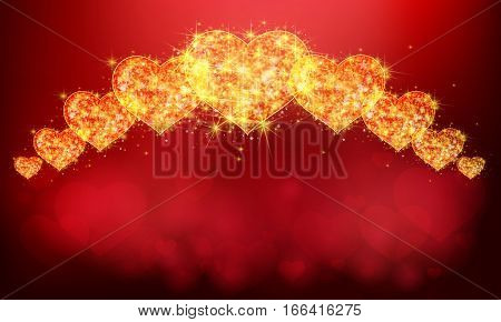 Row of sparkle golden topaz love hearts symbol with glittering magical dust and stars pattern background with blank space. In valentine or love anniversary celebration red velvet banner background layout create by vector