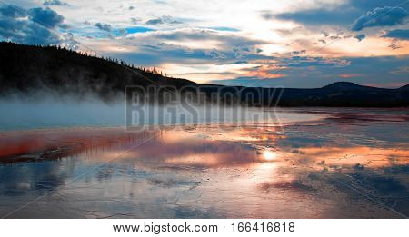 Grand Prismatic Spring at sunset in the Midway Geyser Basin in Yellowstone NP