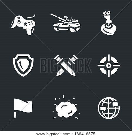 Gamepad, tank, joystick, shield, battle, aim, flag, explosion, social network.