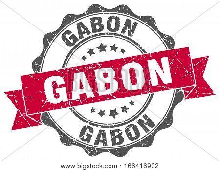 Gabon. round isolated grunge vintage retro stamp