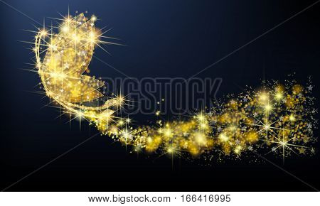 Golden sparkle jewelry butterfly insect flying with glittering stars pattern in advertisement promotion or seasonal holiday celebration isolated black background create by vector