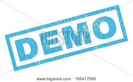 Demo text rubber seal stamp watermark. Caption inside rectangular banner with grunge design and scratched texture. Inclined vector blue ink sign on a white background.