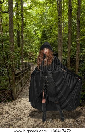 Woman Wearing Cloak