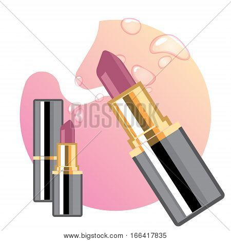 Glamorous lipsticks ads, elegant lipstick for makeup, pink texture on the background