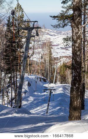Ski Lift Up The Mountain