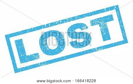 Lost text rubber seal stamp watermark. Tag inside rectangular shape with grunge design and scratched texture. Inclined vector blue ink sign on a white background.