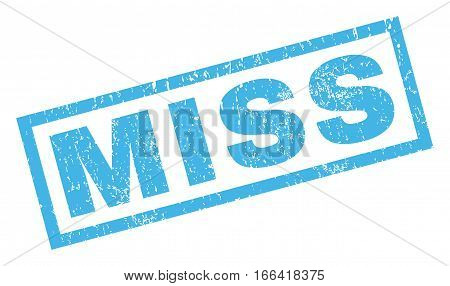 Miss text rubber seal stamp watermark. Tag inside rectangular banner with grunge design and dust texture. Inclined vector blue ink sticker on a white background.