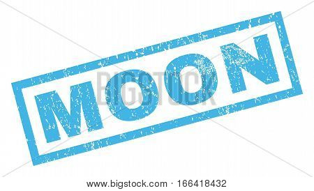 Moon text rubber seal stamp watermark. Tag inside rectangular shape with grunge design and dirty texture. Inclined vector blue ink emblem on a white background.