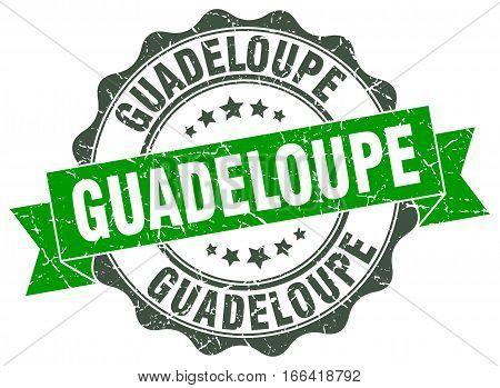 Guadeloupe. round isolated grunge vintage retro stamp