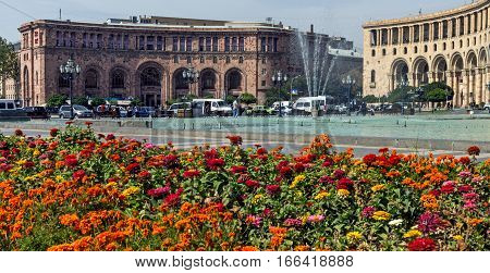 YEREVAN,ARMENIA - SEPTEMBER 14 2015: View on Central square of Yerevan the capital and largest of the city of Armenia, one of the oldest cities in the world