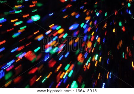 Red, Green, Blue and Orange Holiday Lights in Motion