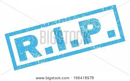 R.I.P. text rubber seal stamp watermark. Tag inside rectangular banner with grunge design and dust texture. Inclined vector blue ink sign on a white background.