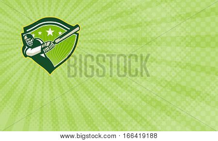 Business card showing Illustration of a cricket player batsman with bat batting facing front set inside shield with stars done in retro style.