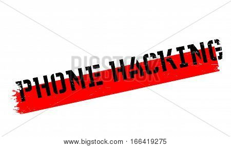 Phone Hacking rubber stamp. Grunge design with dust scratches. Effects can be easily removed for a clean, crisp look. Color is easily changed.