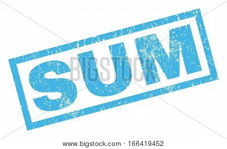 Sum text rubber seal stamp watermark. Caption inside rectangular shape with grunge design and dirty texture. Inclined vector blue ink sticker on a white background.