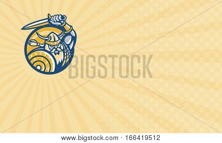 Business card showing Illustration of a Viking Norse Norseman warrior with sword and shield set inside circle done in retro style.