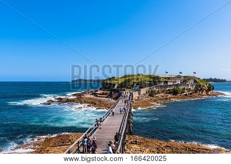 Bare Island Fortification in La Perouse Sydney Australia.JAN 24,2017 Bare Island is the most popular scuba diving site in New South Wales. On a sunny summer Sunday there can be as many as 200 divers here during the day.