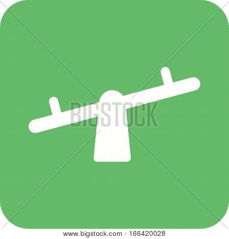Playground, kids, seesaw icon vector image. Can also be used for town. Suitable for web apps, mobile apps and print media.