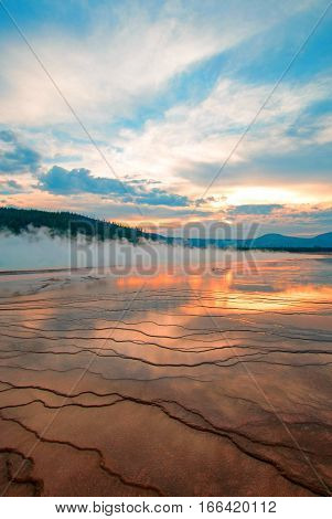Grand Prismatic Spring at sunset in the Midway Geyser Basin in Yellowstone National Park in Wyoming U S of A