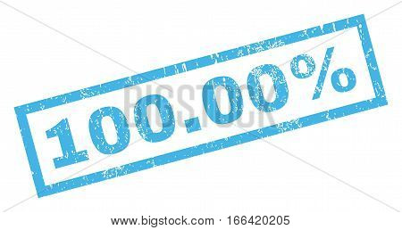 100.00 Percent text rubber seal stamp watermark. Caption inside rectangular shape with grunge design and dirty texture. Inclined vector blue ink sticker on a white background.
