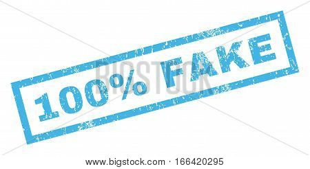 100 Percent Fake text rubber seal stamp watermark. Tag inside rectangular shape with grunge design and dirty texture. Inclined vector blue ink sticker on a white background.