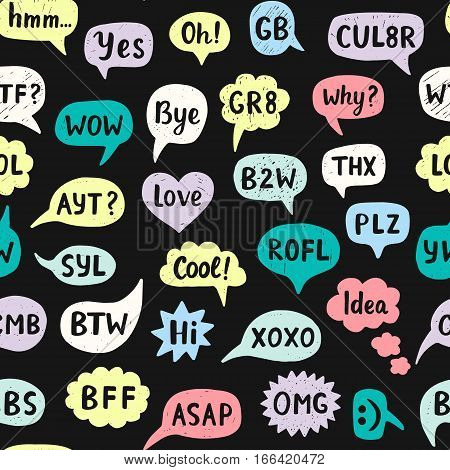 Seamless Pattern with Hand Drawn Internet Acronyms, Abbreviations in Chat Bubbles. Networking and conversation. Vector illustration