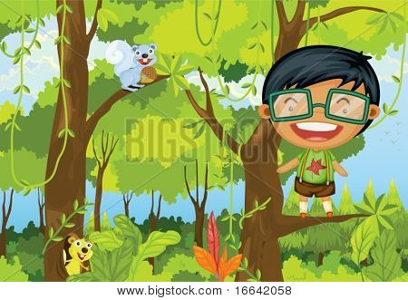 Illustration of a boy standing on a branch of a tree on colorful background
