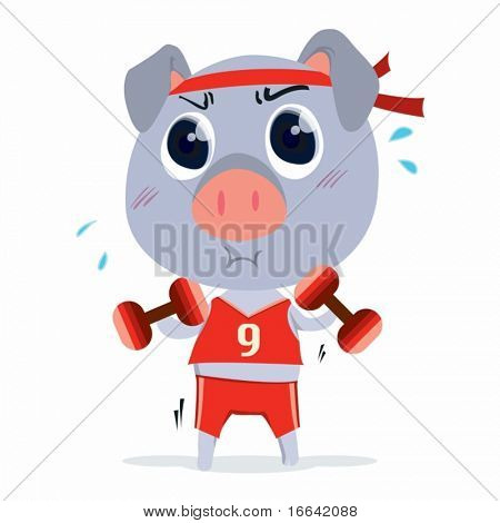 Illustration of A Pig With Dumbles on white background
